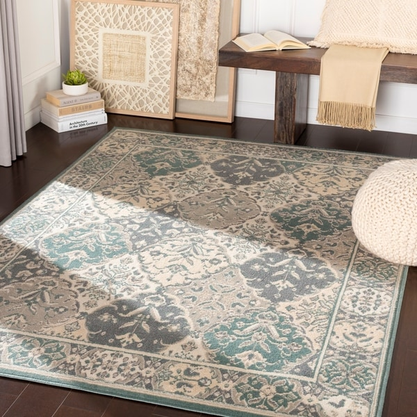"Cooper Teal & Light Grey Traditional Medallion Area Rug - 5'3"" x 7'3"""
