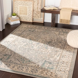 """Dylan Beige/ Teal Traditional Area Rug - 5'3"""" x 7'3"""""""