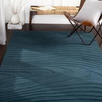 Myles Denim Hand Loomed Abstract Wool Area Rug - 5' x 8'