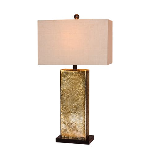 """Fangio Lighting's 5154 29.5"""" Brown Glass/Antique Brass Table Lamp"""