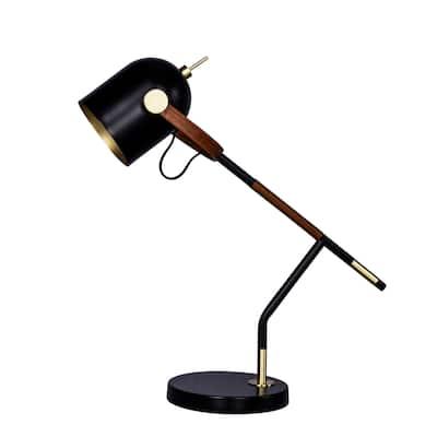 "Fangio Lighting's m.r.1583BLK 20.5"" Leather & Black Metal Task Lamp"