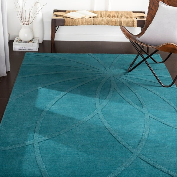 Shop Matias Teal Hand Loomed Contemporary Wool Area Rug