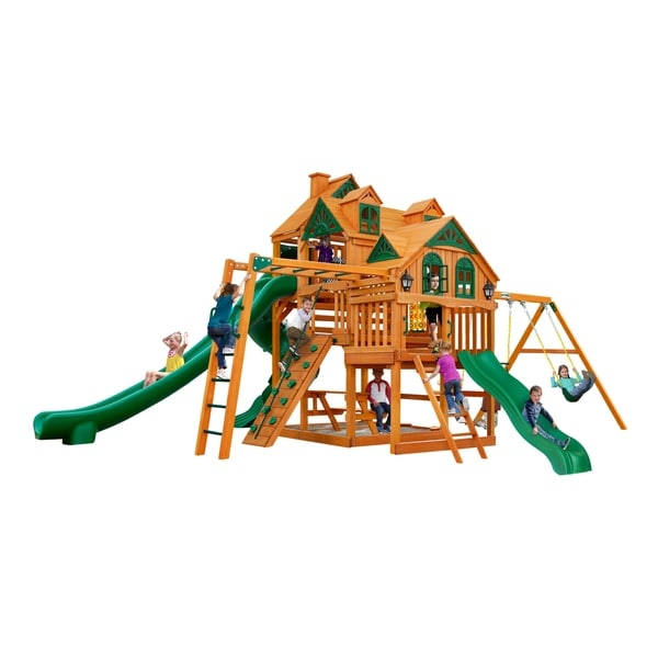 Shop Gorilla Playsets Empire Wooden Swing Set With Monkey Bars