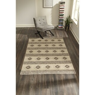 "Momeni Andes Hand Woven Viscose and Wool Beige Area Rug - 7'9"" x 9'9"""