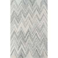 Momeni Cortland Grey Wool Handmade Modern Chevron Area Rug - 8' x 10'