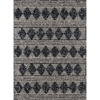 Momeni Andes Charcoal Wool/Viscose Handmade Area Rug - 7'9 x 9'9