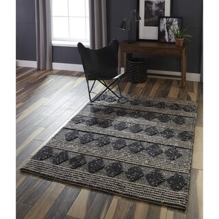 Momeni Andes Hand Woven Viscose and Wool Charcoal Area Rug - 5' x 7'