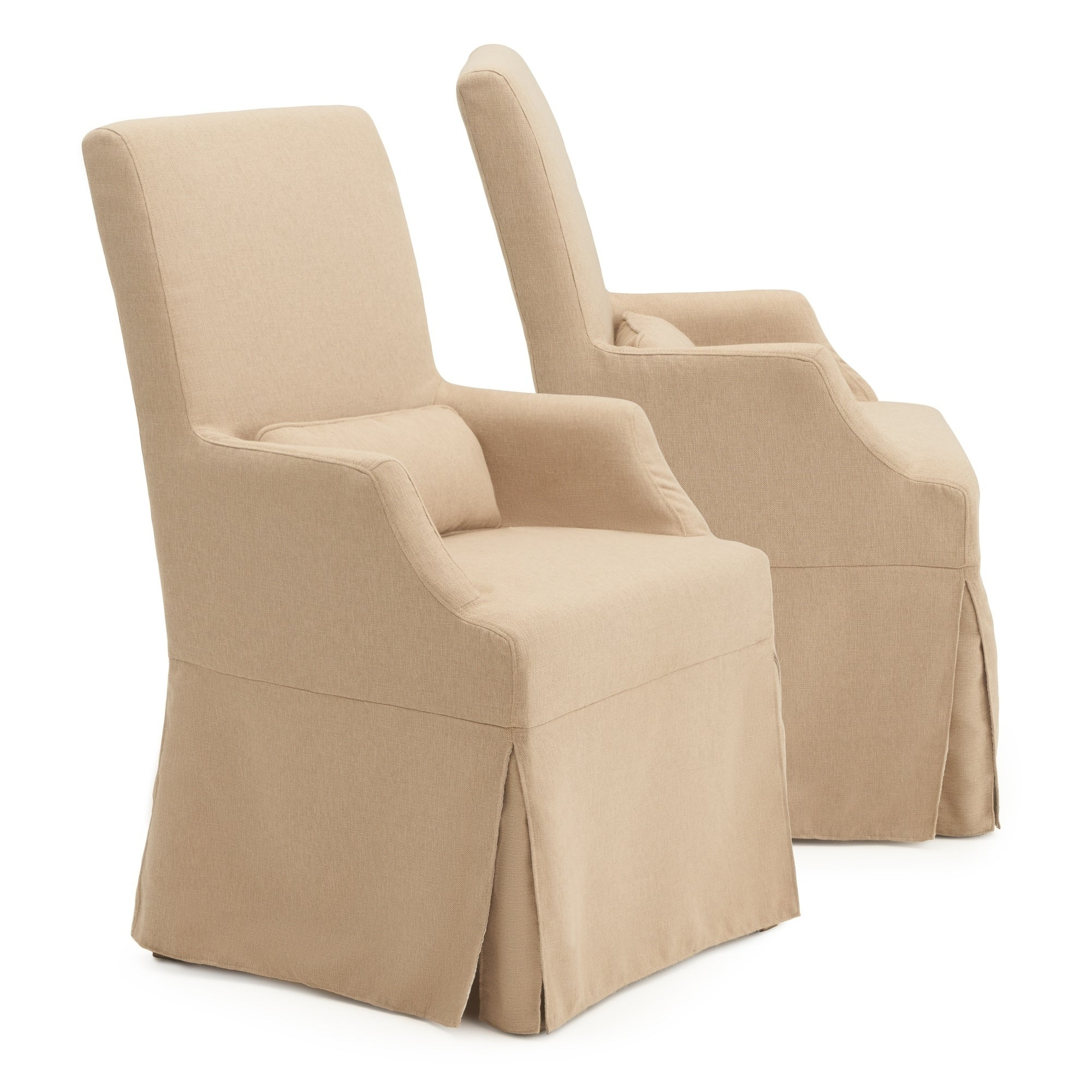 Astrid Slipcover Dining Arm Chair In Beige By Rst Brands