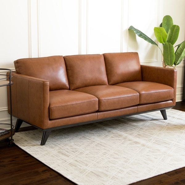 Sofa Sale Express Delivery: Shop Abbyson Woodstock Camel Mid Century Top Grain Leather