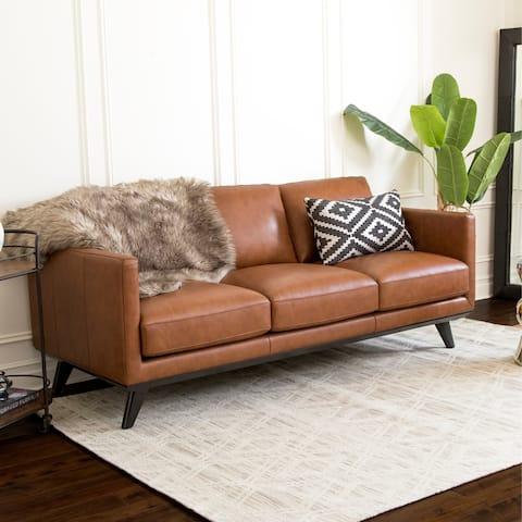 Abbyson Woodstock Camel Mid Century Top Grain Leather Sofa