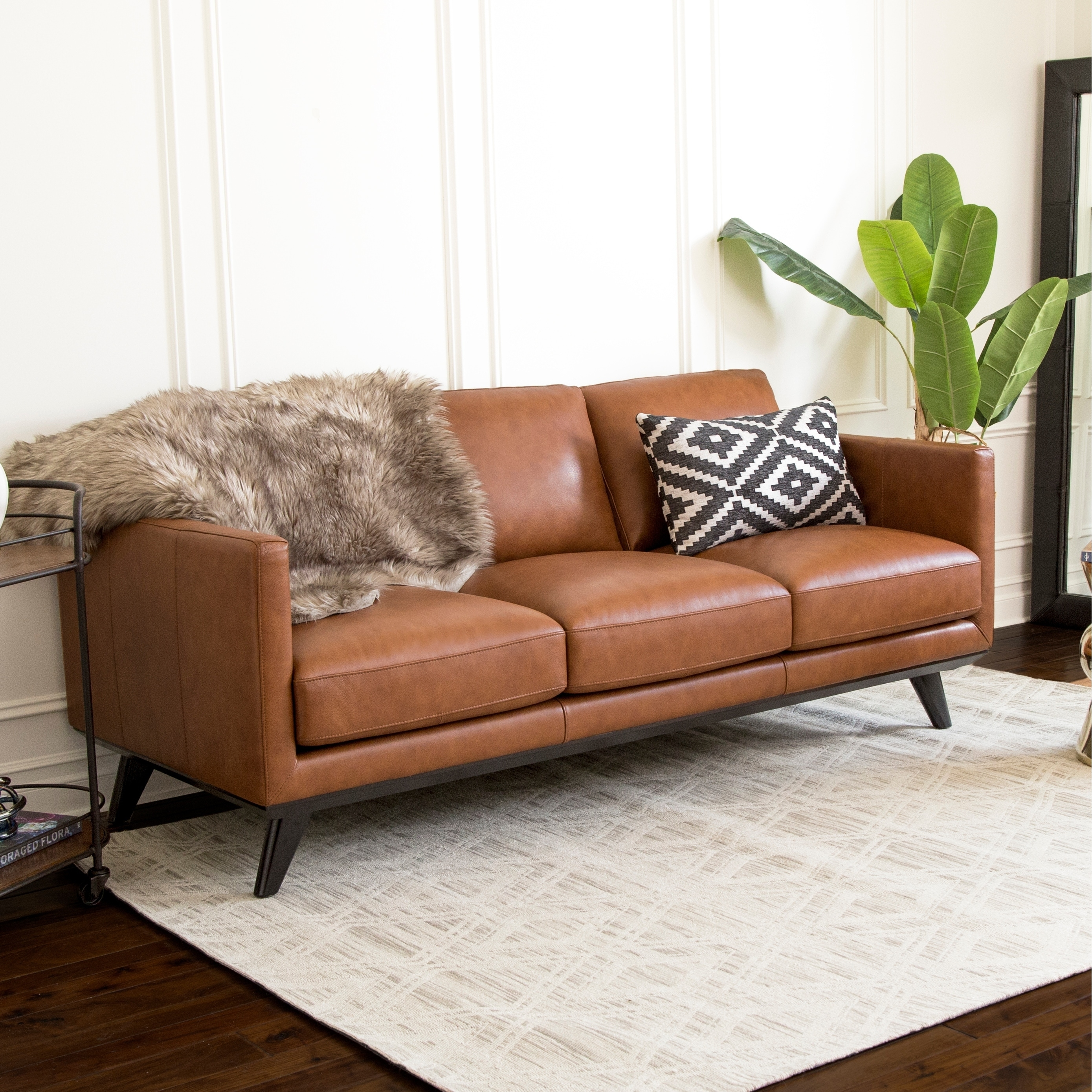 Abbyson Woodstock Camel Mid Century Top Grain Leather Sofa