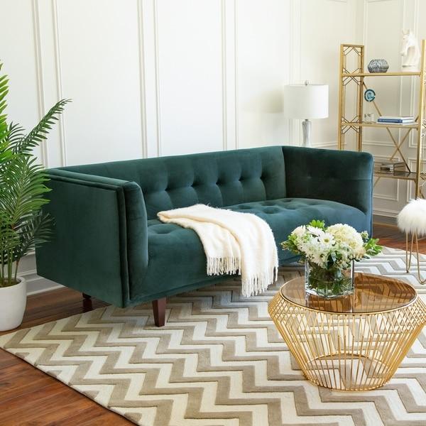 Abbyson Belanger Chesterfield Velvet Sofa