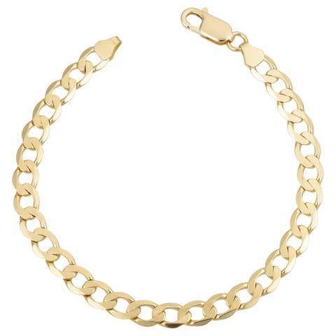Italian 18k Yellow Gold Curb Link Bracelet (6mm, 8.25 inches)