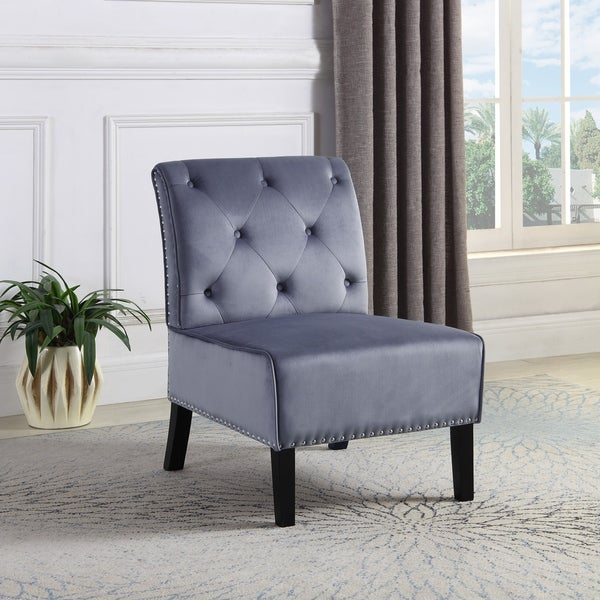 Shop Best Quality Furniture Tufted Velvet Nailhead Accent