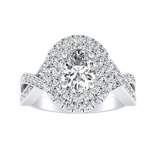 Auriya Plat GIA Certified 1 5/8ctTDW Oval Diamond Halo Engagement Ring - White I-J