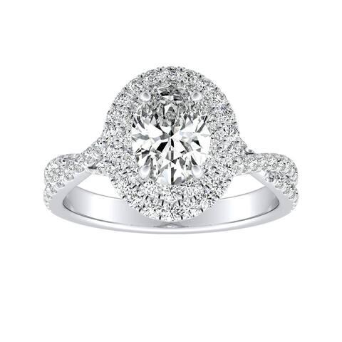 Auriya Platinum 1 1/2ctw Twisted Oval-cut Halo Diamond Engagement Ring
