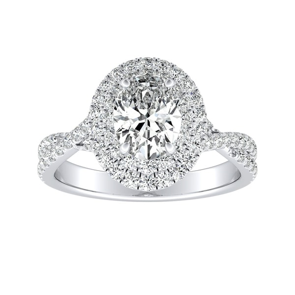 Auriya Platinum 1 1/2ctw Twisted Oval-cut Halo Diamond Engagement Ring. Opens flyout.