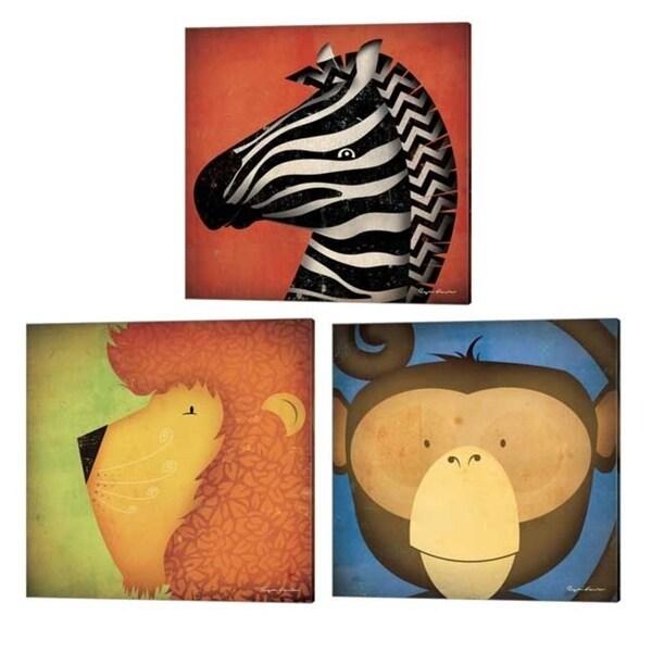 Ryan Fowler 'Lion, Monkey & Zebra WOW' Canvas Art (Set of 3)