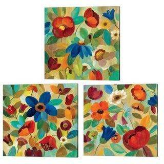 Silvia Vassileva 'Summer Floral' Canvas Art (Set of 3)