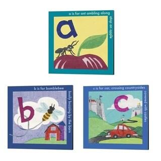 Kim Jacobs 'ABC' Canvas Art (Set of 3)