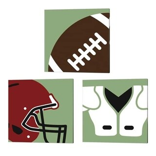 Sports Mania 'Football Close-Ups' Canvas Art (Set of 3)