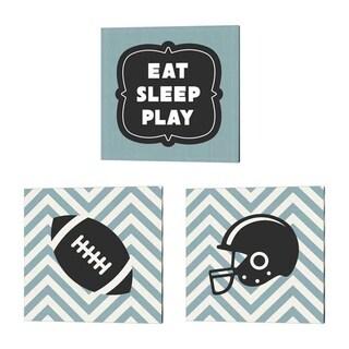 Sports Mania 'Eat Sleep Play Football - Blue' Canvas Art (Set of 3)