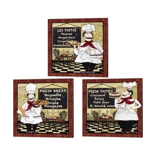 Jean Plout 'Bistro Chef' Canvas Art (Set of 3)