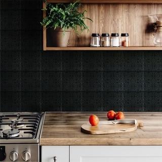 SomerTile 7.75x7.75-inch Triple Valverde Black Ceramic Wall Tile (25 tiles/11.11 sqft.)