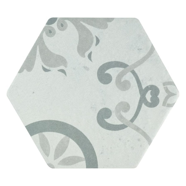 SomerTile 5.875x6.75-inch Botnen Hex Decor Trium Porcelain Floor and Wall Tile (30 tiles/6.77 sqft.)