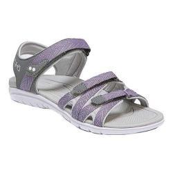 Women's Ryka Savannah Strappy Sandal Grey/Purple PU/Fabric (More options available)