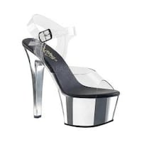 a13b3d3abe2 Women s Pleaser Aspire 608 Ankle-Strap Sandal Clear PVC Silver Chrome