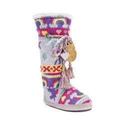 Women's MUK LUKS Grace Slipper Boot Grey/Unicorn Fairisle