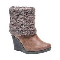 Women's MUK LUKS Sienna Boot Wedge Bootie Brown/Cable Marl Acrylic