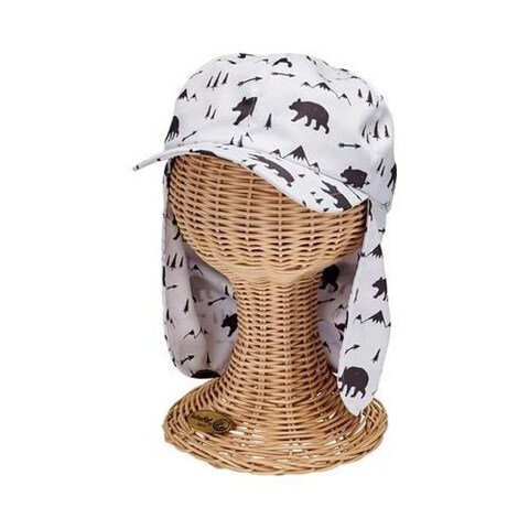 Children's San Diego Hat Company All Over Print Cap with Neck Cover CTK4195 White/Black