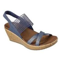 Women's Skechers Beverlee High Tea Wedge Sandal Navy