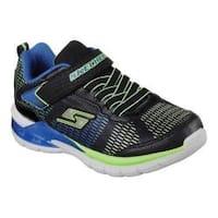 Boys' Skechers S Lights Erupters II Lava Waves Sneaker Black/Blue/Lime