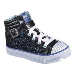 Girls' Skechers Twinkle Toes Shuffles Glitter Girly High Top Navy/Light Blue