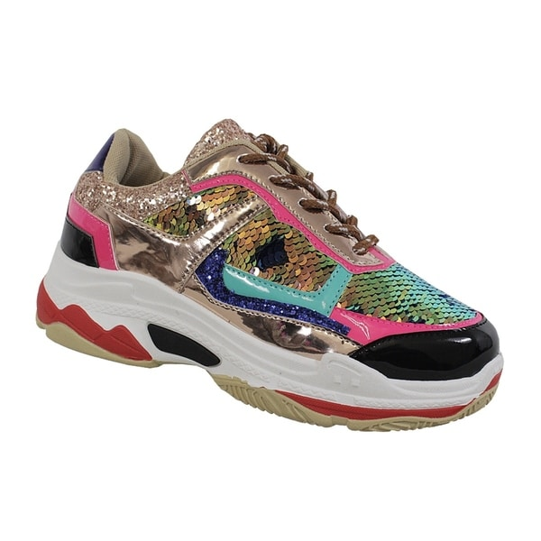 Shop YOKI-TUBULER-04 Women s Sequin Sneakers - On Sale - Free ... 86bef1f86