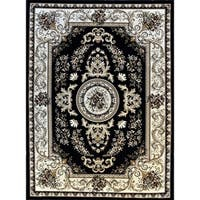 Rug Tycoon Black Wool Oriental Traditional Area Rug - 5'3 x 7'2