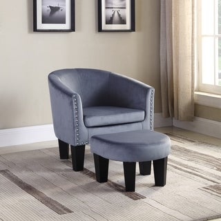 Best Quality Furniture Velvet Nailhead Barrel Chair with Ottoman