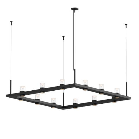 Sonneman Lighting Intervals Satin Black 4-inch LED Square Pendant, Clear w/ Etched Cone Shade