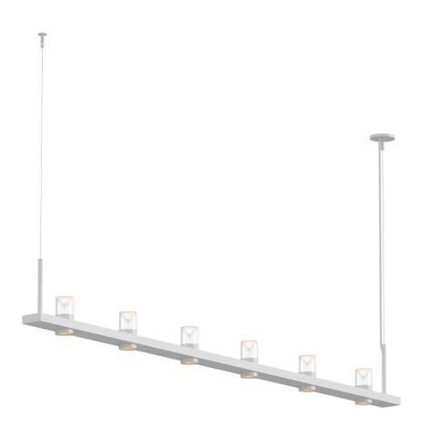 Sonneman Lighting Intervals Satin White 8-inch LED Linear Pendant, Clear w/ Etched Cone Shade