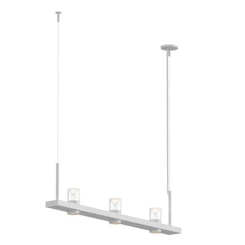 Sonneman Lighting Intervals Satin White 4-inch LED Linear Pendant, Clear w/ Etched Cone Shade