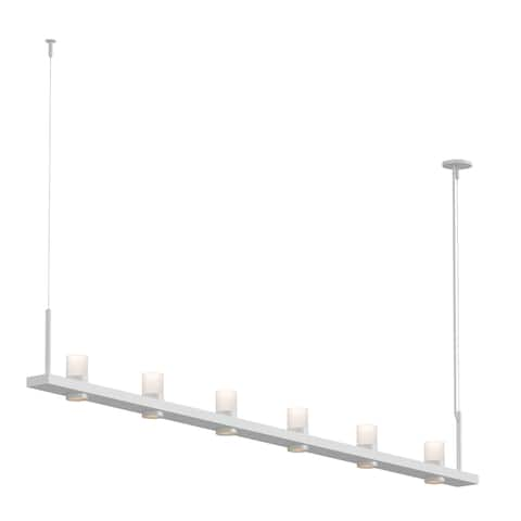 Sonneman Lighting Intervals Satin White 8-inch LED Linear Pendant, Clear Etched Cylinder Shade