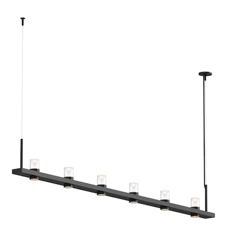 Sonneman Lighting Intervals Satin Black 8-inch LED Linear Pendant, Clear w/ Etched Cone Shade