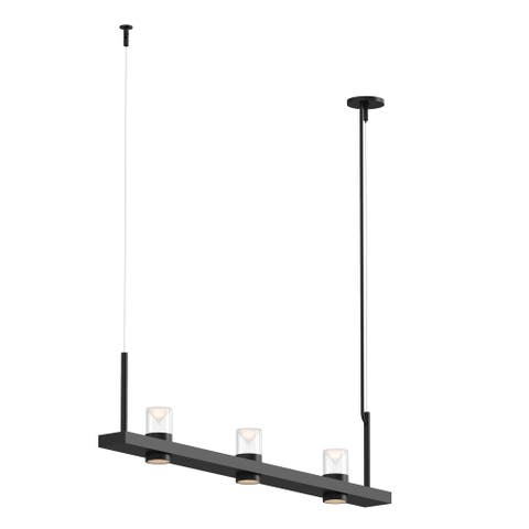 Sonneman Lighting Intervals Satin Black 4-inch LED Linear Pendant, Clear w/ Etched Cone Shade