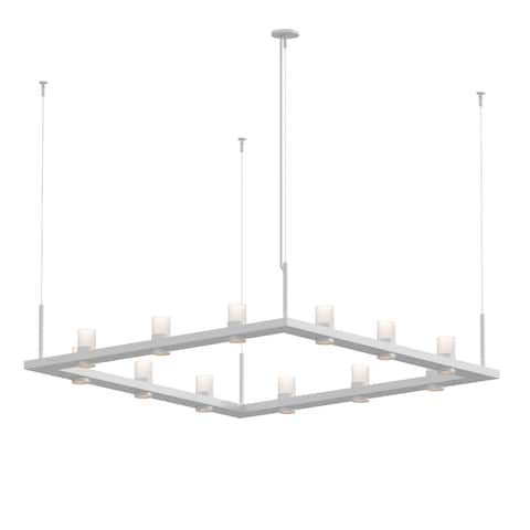 Sonneman Lighting Intervals Satin White 4-inch LED Square Pendant, Clear Etched Cylinder Shade