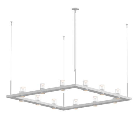 Sonneman Lighting Intervals Satin White 4-inch LED Square Pendant, Clear w/ Etched Cone Shade