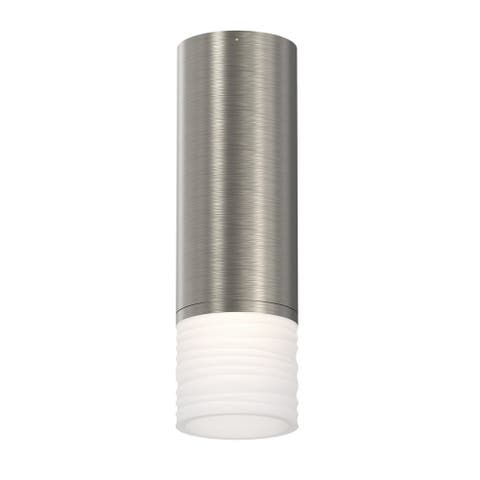 ALC 1-light Satin Nickel Small LED Surface Mount, Etched Ribbon Shade