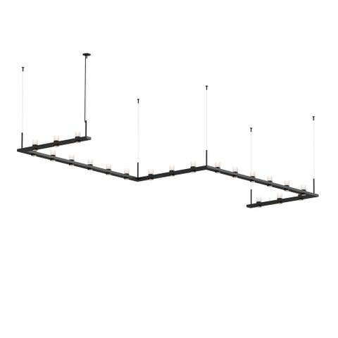 Sonneman Lighting Intervals 21-light Satin Black LED Zig Zag Pendant, Clear Etched Cylinder Shade
